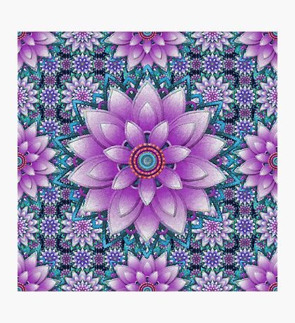 Embroidered purple&green Photographic Print