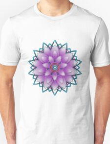 Embroidered purple&green T-Shirt
