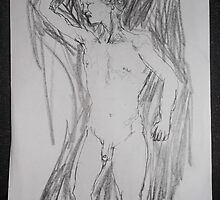 male nude/life drawing -(140212)- pen & ink sketch/digital photo by paulramnora