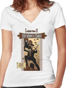 Confedervania II: Abraham's Quest Women's Fitted V-Neck T-Shirt