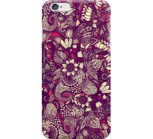 Modern Rustic Red Floral Drawings iPhone Case/Skin