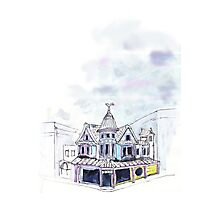 Inky Architecture - The Lucky Cat Cafe  Photographic Print