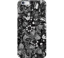 Modern Black & White Drawn Floral Collage iPhone Case/Skin