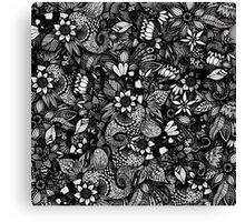 Modern Black & White Drawn Floral Collage Canvas Print
