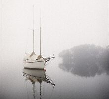 Misty boat, Tamar River, Launceston, Tasmania by Philip Kuruvita