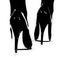 A Highly Erotic Drawing of Fashionable High Heel Shoes from Behind Photographic Print