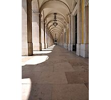Commerce square arcades in Lisbon Photographic Print