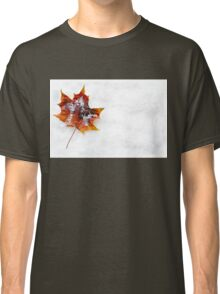 Fallen Leaf in the Snow Classic T-Shirt