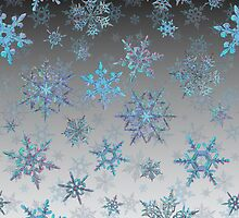Embroidered Snowflakes on light by Ivana Westin