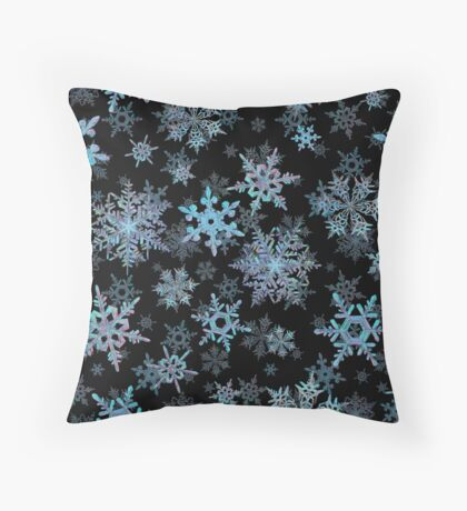 Embroidered Snowflakes on dark Throw Pillow