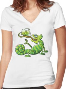 Saint Patrick's Day Chameleon Women's Fitted V-Neck T-Shirt