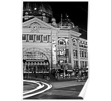 Flinders Station at night Poster