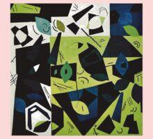 Monochrome Modern Art: Green Kids Tee