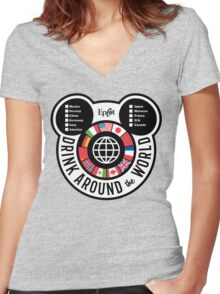 Drink Around the World - EPCOT Checklist v2 Women's Fitted V-Neck T-Shirt