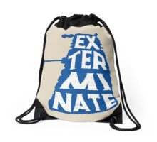 Blue Dalek exterminate minimalist Drawstring Bag