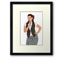 Red-haired girl isolated on white background Framed Print