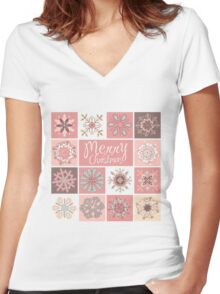 Merry Christmas in Pastel Pinks Women's Fitted V-Neck T-Shirt