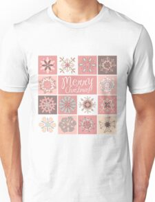 Merry Christmas in Pastel Pinks Unisex T-Shirt
