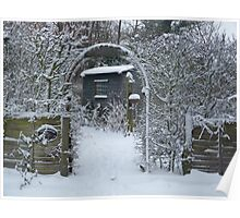 Garden Arch in the Snow Poster