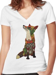 floral fox Women's Fitted V-Neck T-Shirt