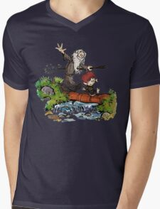 Lord of the Rings meets Calvin and Hobbes Mens V-Neck T-Shirt