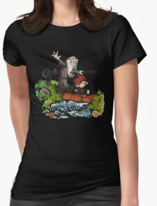 Lord of the Rings meets Calvin and Hobbes Womens Fitted T-Shirt