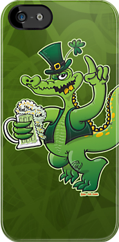 Saint Patrick's Day Crocodile Drinking Beer by Zoo-co