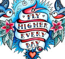 iPhone Case - Tattoo -  Fly Higher Every Day by Helen Aldous
