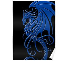 Flying Blue Tribal Dragon Poster
