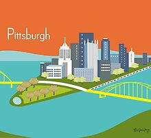 Pittsburgh, Pennsylvania - Skyline Illustration by Loose Petals by karenart