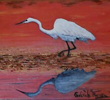 White Egret Wading In The Sunset by Kashmere1646