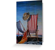 Folding Chairs Watching, Contemplating The Sunset Greeting Card