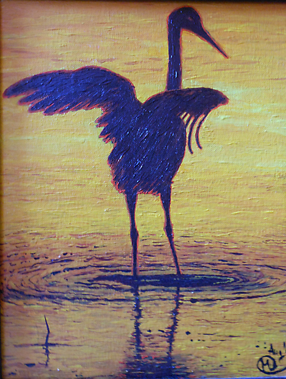 Crane Bathing In The Sunset by Kashmere1646