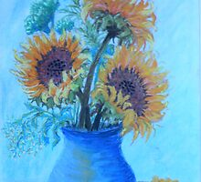 The Sunflowers in the Blue Vase by Kashmere1646