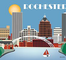 Rochester, New York - Skyline Illustration by Loose Petals by karenart