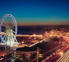Brighton CityScape at Night II by Erika  Szostak