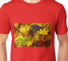 Overhead view on fallen autumn leaves of maple Unisex T-Shirt
