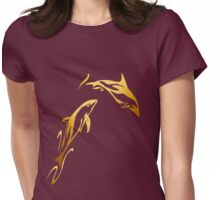 Two Gold Dolphins Womens Fitted T-Shirt