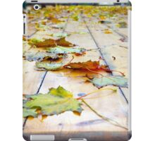 Selective focus on fallen autumn maple leaves iPad Case/Skin