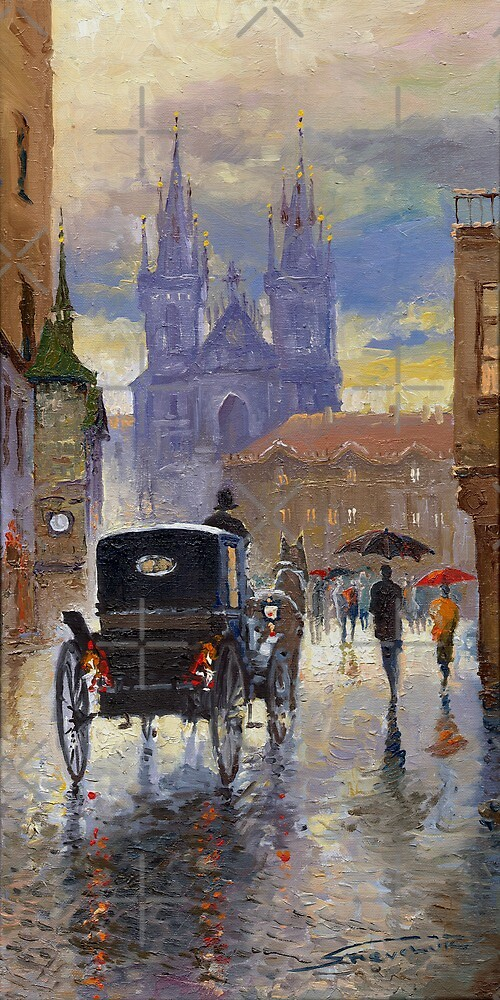 Prague Old Town Square Old Cab by Yuriy Shevchuk