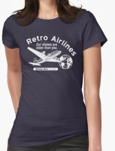 Retro Airlines Logo (White) Womens Fitted T-Shirt
