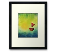 Red Boat Sunset Abstract Framed Print