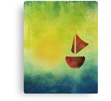 Red Boat Sunset Abstract Canvas Print
