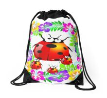 Hawaiian ladybug with babies standing on colorful hibiscus flowers Drawstring Bag