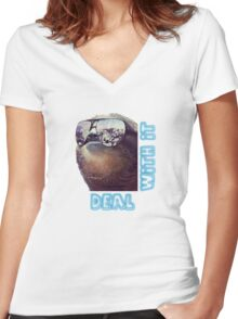 Sloth - Deal with it Women's Fitted V-Neck T-Shirt