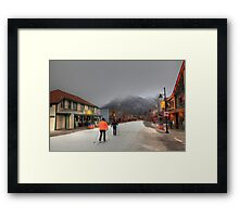 Skiing in Canmore Framed Print