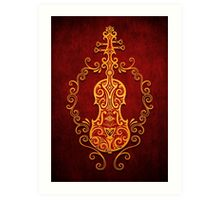Aged Vintage Red and Yellow Tribal Violin Design Art Print