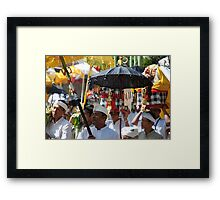 Bali temple procession Framed Print