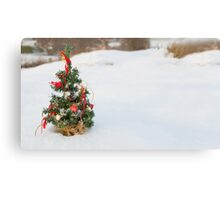 Snow Covered Christmas Tree Canvas Print