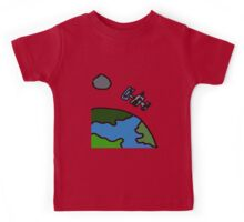 A Cartoon of earth from space Kids Tee